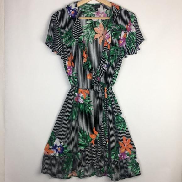 0b79b5350e503 Who What Wear Dresses   Striped Tropical Floral Wrap Dress   Poshmark